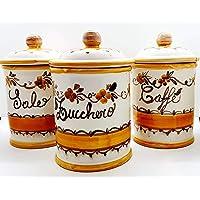 Set 3 Barattoli Sale Zucchero Caffé Linea Fiori Arancio Ceramica Le Ceramiche del Castello Handmade Pezzi Unici Made in…