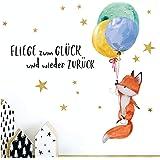 Little Deco Kinderkamer muursticker vos & spreuk vlieg to Glück I 87 x 50 cm (B x H) I ballonnen wandafbeeldingen decoratie b