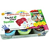 Pebeo 634110 Textilfingermalfarbe Tactilcolor 6-er Set 100 ml, gelb/rot / blau/hellgrün / schwarz/weiß