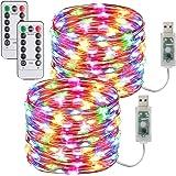 [2 Pack] Guirnaldas Luces Con enchufe USB,10m/100 LED 8 modos Luces de Hadas de 33 pies con Control Remoto y Temporizador Luc