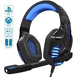 IGROME PS4 Headset, PC Gaming Kopfhörer auch für Xbox One & Nintendo Switch & Laptop, Bass Surround, mit Rauschunterdrückungsmikrofon, LED Licht, 3,5-mm Jack (mit 2 in 1-Adapter) (Blau)