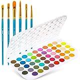 Akvarellfärgset, Ohuhu 48 färger vibrerande färg färg, lätt och bärbar panna med 6 penslar, professionell akvarellfärg för vu