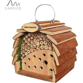 Gardigo Insektenhotel für Bienen & Marienkäfer | Nistkasten aus Holz zum Aufhängen | Für Garten und Balkon, 16 cm Groß