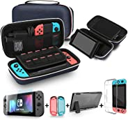Bestico 3 in 1 Accessories Kits for Nintendo Switch, Include Carrying Case with Stand for Nintendo Switch , 1pc Tempered Gla