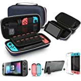 Bestico 3 in 1 Accessories Kits for Nintendo Switch, Include Carrying Case with Stand for Nintendo Switch , 1pc Tempered Glas