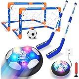 Tacobear Hover Fußball Hockey Set mit 2 Wiederaufladbar Air Power Fußball mit LED Licht Hockey Tore Schläger Kinderspielzeug