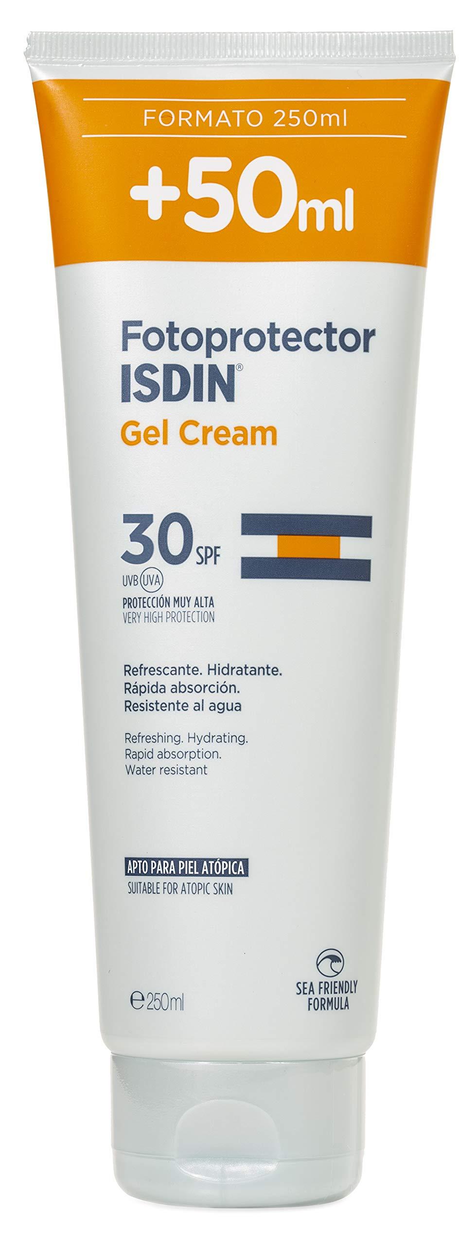 ISDIN Gel Cream Crema Solar Corporal Refrescante E Hidratante (SPF 30) – 250 ml.