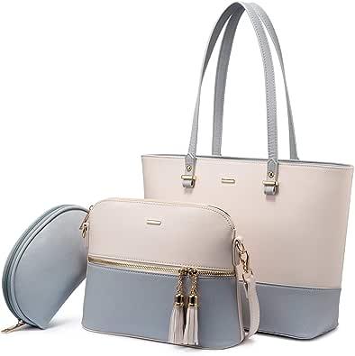 LOVEVOOK Handtasche Damen Schultertasche Handtaschen Tragetasche Damen Groß Designer Elegant Umhängetasche Henkeltasche Set 3-teiliges Set