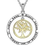 LOVORDS Collana Donna Incisa Personalizzata Argento Sterling 925 Pendente Ciondolo Albero della Vita Famiglia Cerchio Regalo