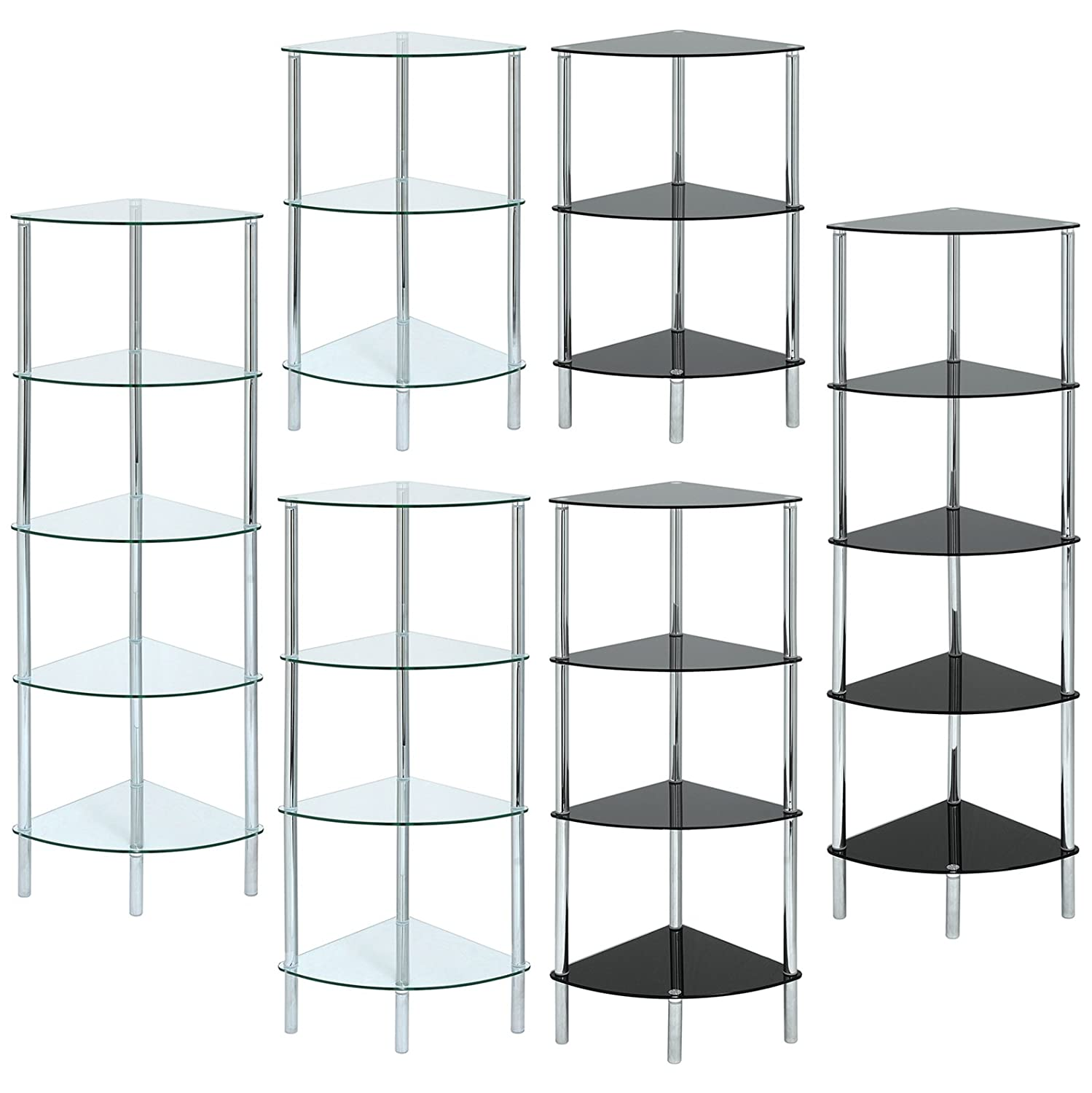 hartleys curved corner shelf unit available in black or clear glass amazoncouk kitchen u0026 home