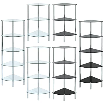 hartleys curved corner shelf unit available in black or clear glass