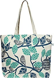 EcoRight Large Zipper Canvas Printed Tote Bag