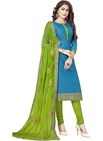 Ishin Cotton Blue   Green Embroidered Women\'s Unstitched Salwar Suits dress material with Chiffon Dupatta