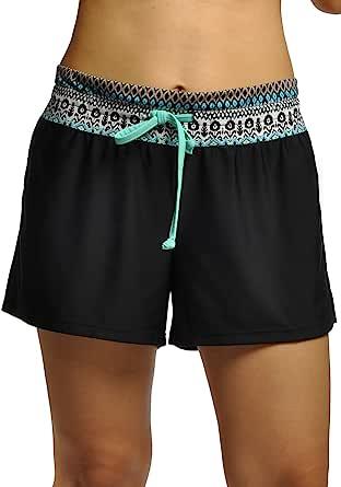 OUO Womens Adjustable Drawstring Boy Style Swim Shorts