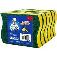 MR.SIGA éponge grattante multi-usage pour usage intensif. Dimensions 11 x 7 x 3 cm (4.3'' x 2.8'' x 1.2''). Lot de 12.