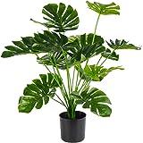 شجرة نخيل صناعية انش، نبات مونستيرا ديليسيوسا صناعي في اصيص للمنزل والاماكن الداخلية والخارجية والمكتب من توبيفي، 28 انش