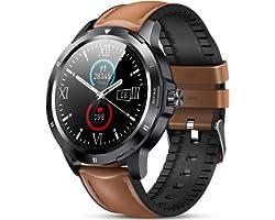 GOKOO Montre Connectée Homme Smartwatch Sport Cardiofrequencemètre Bracelet Cuir Tensiomètre Fitness Tracker d'Activité Podom