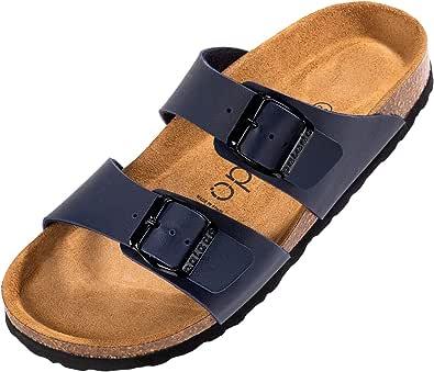 Palado® Damen Sandale Samos in vielen Farben | Made in EU | Pantoletten mit Natur Kork-Fussbett und samtig weichem Fußbett | Hausschuhe mit Sohle aus feinem Velourleder