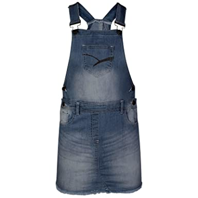 83c4c5569ed NEW KIDS GIRLS DENIM STRETCH STONE DARK WASH PLAYSUIT JUMPSUIT DUNGAREE  SKIRT  Amazon.co.uk  Clothing