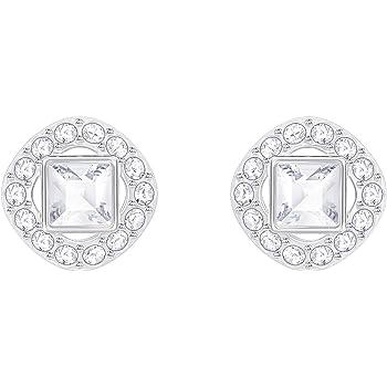 7a34363f3 Swarovski Angelic Square Pierced Earrings, White, Rhodium plating ...
