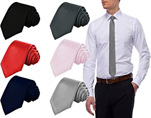 Combo Set of 6 Slim Satin Tie for Men - Formal, Party Wear, Birthday Gifts. Colour Black, Red, Grey, Navy Blue, Light Pink, Silver