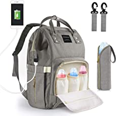 Baby Wickeltasche Wickelrucksack, Niorson Babytasche Multifunktional Wasserdicht Reise Rucksack mit USB-Lade Port Isolierte Tasche für Unterwegs, Große Kapazität Grau