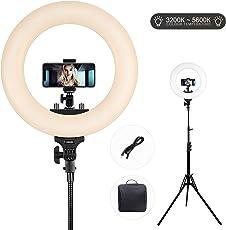 Ring Light LED Bi-color 3200k-5600k ESDDI 14 Pollici Kit con Supporto Leggero e Hot Shoe per Fotocamera Smartphone, Youtube, Vine, Autoritratto, Ripresa Video