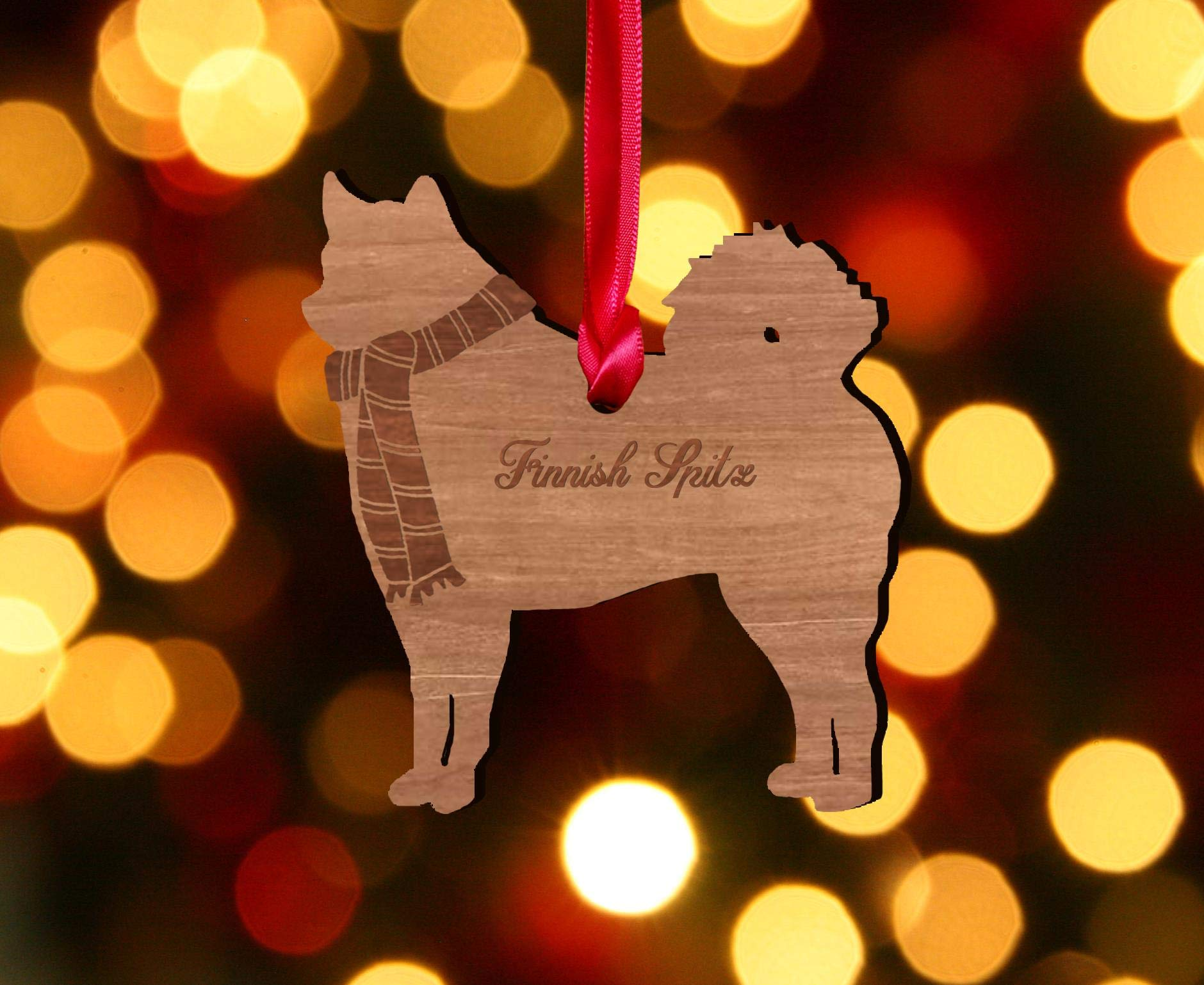 My Pretty Little Gifts Wooden Dog Decoration: Finnish Spitz