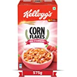 Kellogg's Corn Flakes with Real Strawberry Puree   Breakfast Cereals   Low Fat   High in Vitamin C   High in Iron   Naturally