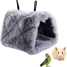 Fansport Hanging Cave Fluffy Triangle Bird Hanging Nests Bird Warm House for Parrot Hamster