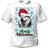 teesquare1st Alaskan Malamute Santa Snow P1 Camiseta Blanca para Hombre de Algodon