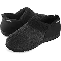 ULTRAIDEAS Men's Cozy Memory Foam Slippers w/Warm Fleece Lining, Wool-Like Blend Micro Suede House Shoes w/Anti-Slip…