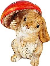Wonderland Miniature 1.4 inches Fairy Garden Bunny with Mushroom for Planter Decoration (Multicolour)