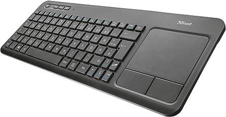 Trust All-in-One Kabellose Multimedia Touch Tastatur (für Laptop/PC/Smart-TV/PS4/Xbox One) Schwarz