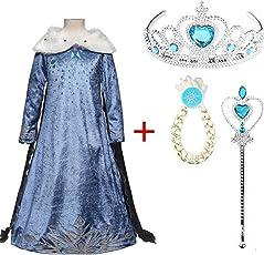 FancyDressWale Girl's Frozen Inspired Anna Elsa Princess Dress with Snow Flake Accessories Set (Frozen Elsa, 6-7 Years, DSXXXQAZ19)