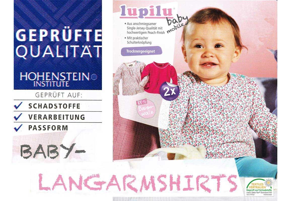 Lupilu 2 Baby Langarmshirts - T-Shirts - Schulterknöpfung (74/80)