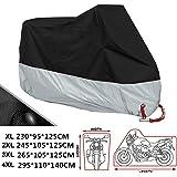 ANFTOP Funda para Moto 190T Cubierta 4XL Impermeable Agujeros de la Cerradura de Motocicleta Plateado y Negro Motorcycle Cove