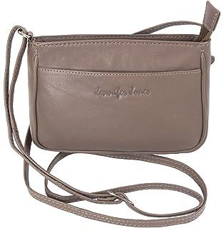 de9885fbd123a Jennifer Jones Taschen Damen 100% Leder Damentasche Handtasche  Schultertasche Umhängetasche Tasche klein Crossbody Bag grau