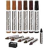 Meubelreparatieset Houten Markers - Set van 13 - Markers en Wax Sticks met puntenslijper Kit, voor vlekken, krassen, houten v
