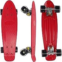 """Eseewin Skateboard Mini Cruiser Complet de 22""""x6 pour débutants, Adolescents, Filles, garçons avec Roues à LED"""