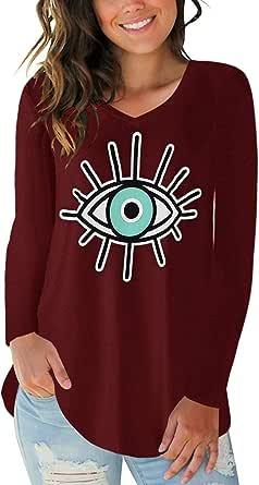 CNFIO Maglia Manica Lunga Donna Maglietta Rotondo Maniche Lunghe Maglieria Basic Shirt Eleganti Lady Top Casual Camicetta con Nodo in Vita