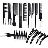 JZK Set de 10 peines profesional y 4 clips para el pelo - peine de salón antiestático peluquería peines para estilista de sal