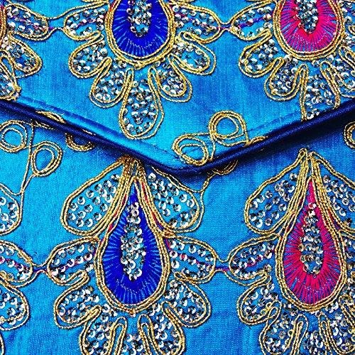 Nuova Collezione Ricamato Borsa A Tracolla Donna Trasversale Corpo Elegante Borsa Indiana Mano Blu