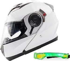 Nathut Motorradhelm Klapphelm Mit Led Licht Fullface Helm Integralhelm Mit Sonnenblende Motorrad Helm Weiß Ece L 58 60cm Auto