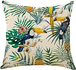 Outflower Foglie tropicali Piante Fiori e uccelli Fodera per cuscino stampati/Camera/salotto/ufficio/auto/Divano 45* 45cm