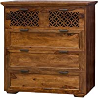 Shagun Arts Wooden Chest of Drawer for Bed Room | Dresser for Clothes with 5 Drawers | Sheesham Wood, Natural Honey