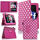 MoveAir - Polka Dot Pink Amazon Kindle FIRE HD 7' 2013 latest Version Leather Case Cover and Flip Stand Cover Typing…