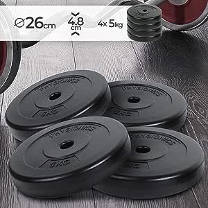 Dischi Pesi - Set di 4, 4 x 5 kg, Foro Ø 27mm, Rivestiti in Plastica, per Manubri e Bilancieri - Piastre Palestra, Fitness, Allenamento, Body Building