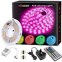 LED Strip Lights, MINGER 5M(16.4ft) RGB LED Light Strip 5050 LED Tape Lights, Color Changing LED Strip Lights Full Kit with Remote for Home Kitchen Bedroom Bar Decoration