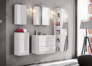 Twist Badmöbel Set/Komplettbad 6 Teilig In Weiß, Mit Waschtisch 60 Cm